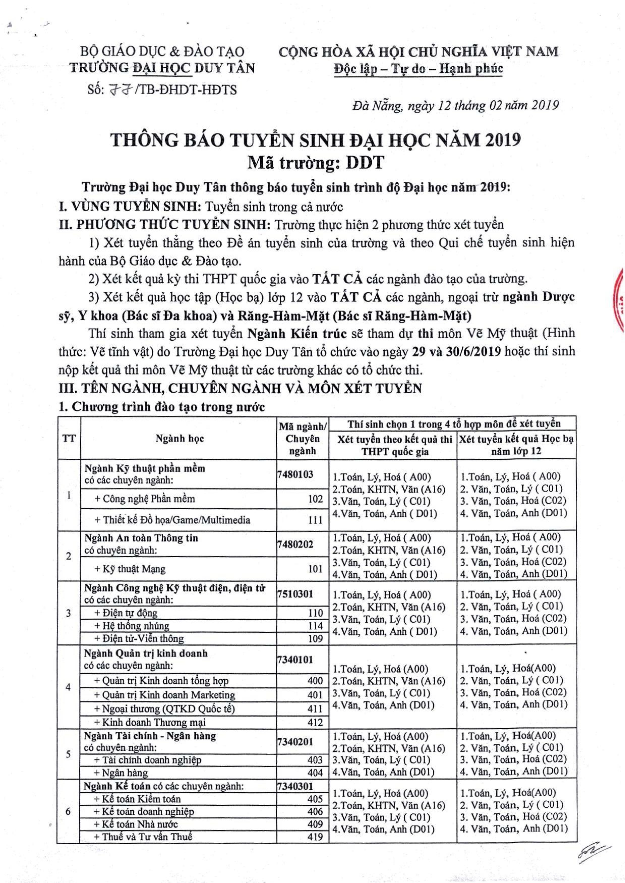 Thông báo Tuyển sinh Đại học Duy Tân năm 2019 Ff847262-a08e-407d-bfb3-9fc1613b2237